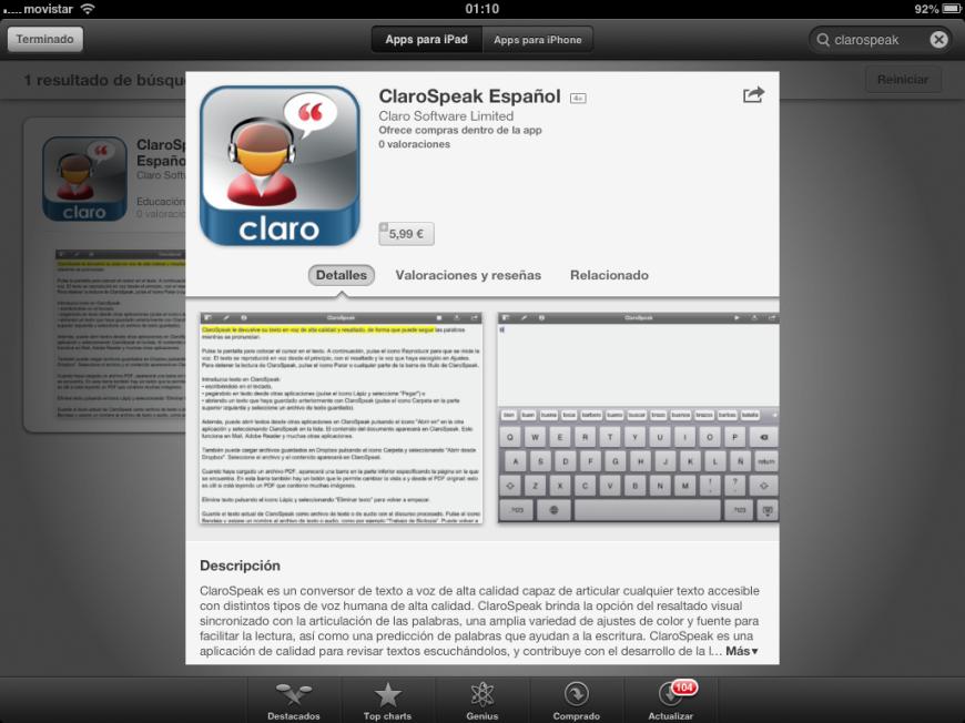 Captura de la aplicación en la App Store de Apple.