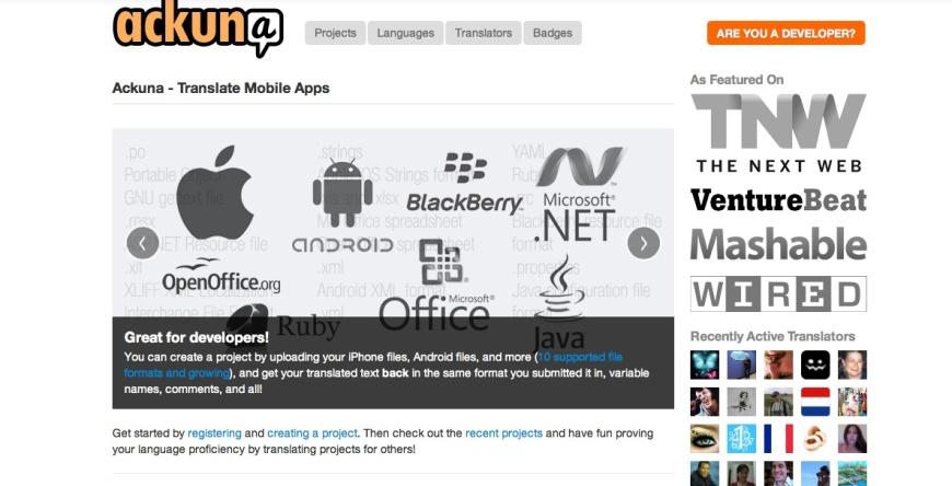 Ackuna es un proyecto de traducción crowd-sourcing de aplicaciones móviles.