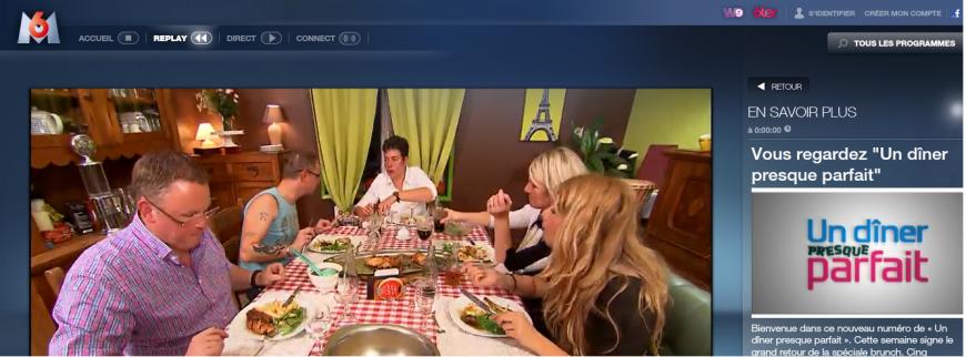 """Un dîner presque parfait.  Versión francesa del programa """"Ven a Cenar Conmigo"""" emitido hace un tiempo en cadenas españolas."""